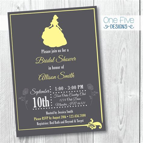 princess theme bridal shower invitation and the beast etsy