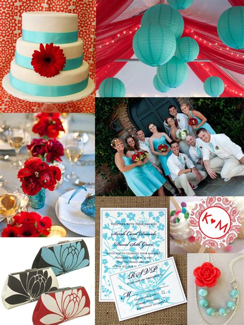 colour themes with red turquoise and red wedding colors inspiration