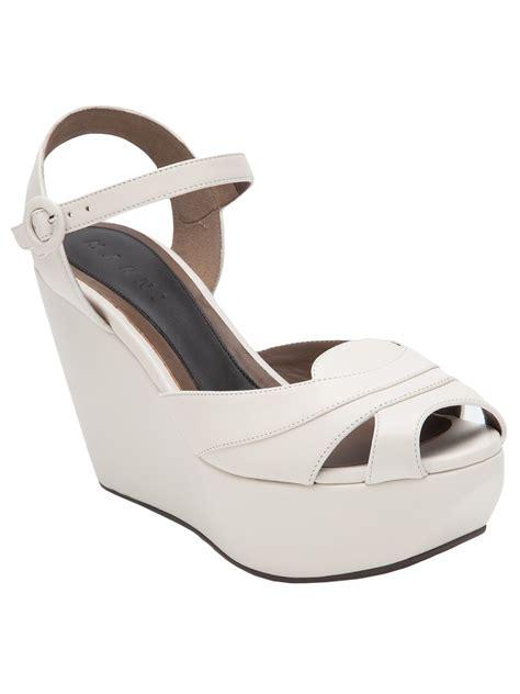 white sandal wedges marni classic platform wedge sandal in white lyst