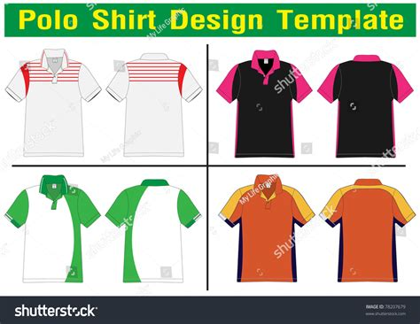 Polo Shirt Design Lined Vector Template Stock Vector 78207679 Shutterstock Polo Shirt Design Template