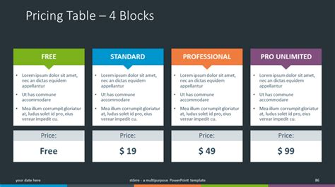 4 pricing plans powerpoint template with recommandation st 246 rre multipurpose powerpoint template