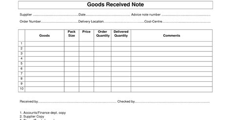 material receipt form template every bit of goods receipt note grn format template