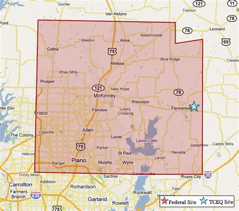 texas map plano superfund in collin county tceq www tceq texas gov
