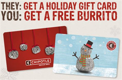 Chipotle Buy 25 Gift Card - chipotle free burrito offer with gift card purchase through 2012 restaurant