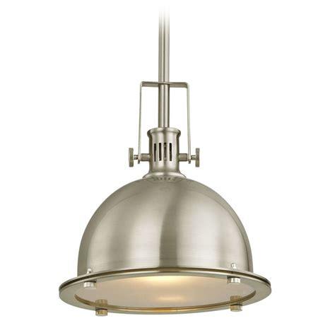 Nickel Pendant Light Design Classics Vaughn Satin Nickel Pendant Light With Bowl Dome Shade Ebay