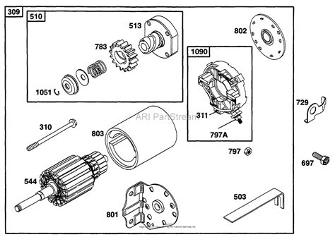starter motor parts diagram briggs and stratton 252707 0630 01 parts diagram for