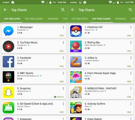 Play Store App Free Android Play Store 排行榜將分開 Top Free Apps Free
