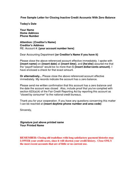 Zero Balance Credit Card Letter Best Photos Of Zero Balance Letter Formal Outstanding