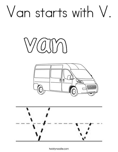 coloring pages with letter v van starts with v coloring page twisty noodle