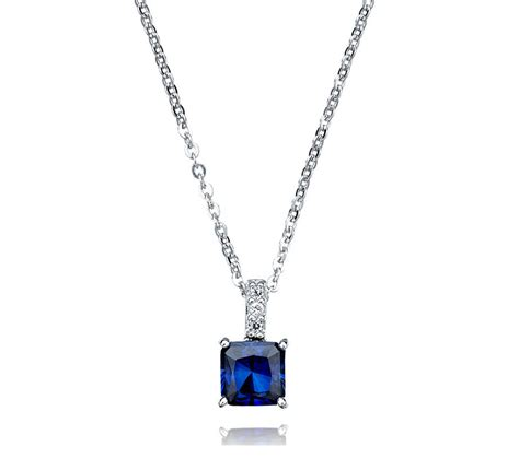 Luxury Elegant Sumptuous Sapphire Jewelry Design of Princess Cut Pendant for Gift Ideas by