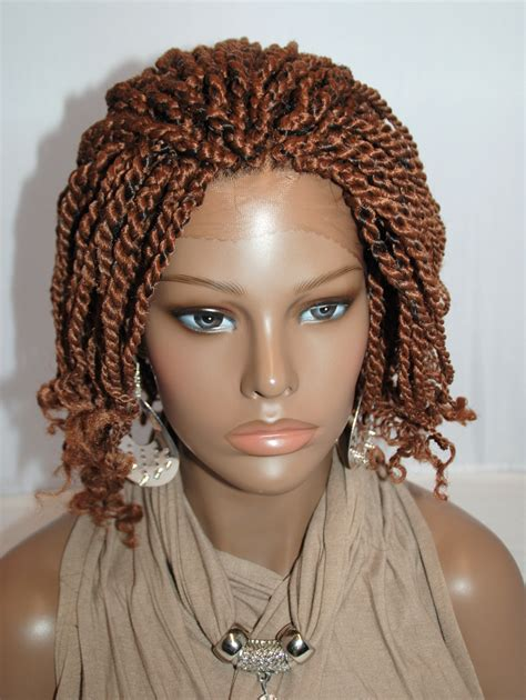 fully braided african wigs fully hand braided lace front wig kinky twist color 1b in