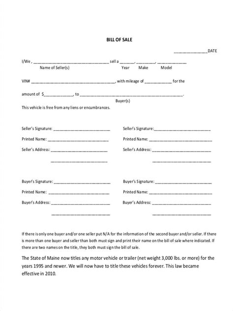 6 trailer bill of sale forms free sle exle