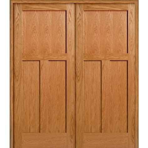 Interior Oak Panel Doors Mmi Door 73 5 In X 81 75 In Unfinished Oak 3 Panel Flat Interior Door Z022666ba