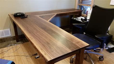 black walnut desk top solid walnut quot liveedge quot l shape desk boulder furniture arts
