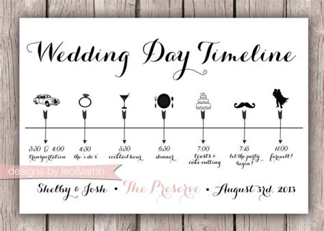 custom wedding timeline 5x7 digital file