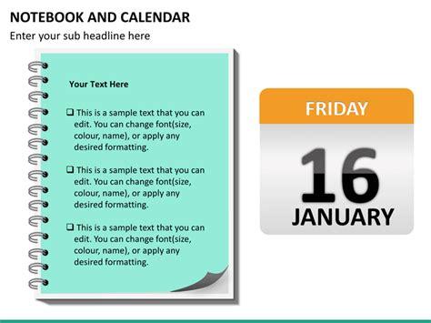Calendar Notebook Notebook And Calendar Powerpoint Sketchbubble