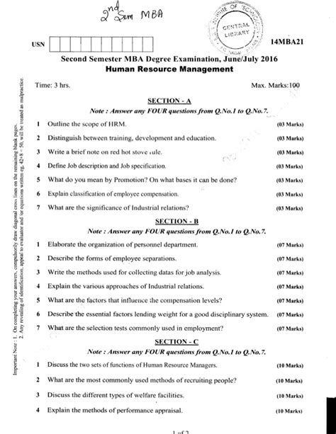 Hr Questions For Mba by 2nd Semester Mba Jun 2016 Question Papers