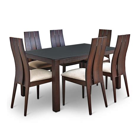 home 6 seater dining set buy carlton glass top six seater dining set burn beech in india ho340fu00mctindfur