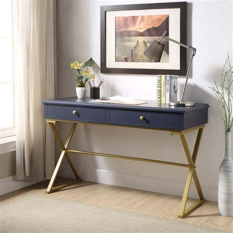 linon caign writing desk in blue and gold ahwdeskbld1