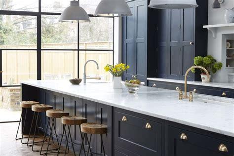 vintage navy kitchen design  brass hardware digsdigs