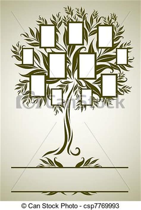 Vector Family Tree Design With Frames And Autumn Leafs Place For Text Family Tree Template Vintage Vector Illustration Stock Vector 397284052