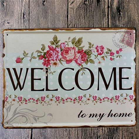 vintage shabby chic home decor welcome home metal shabby chic vintage sign home wall