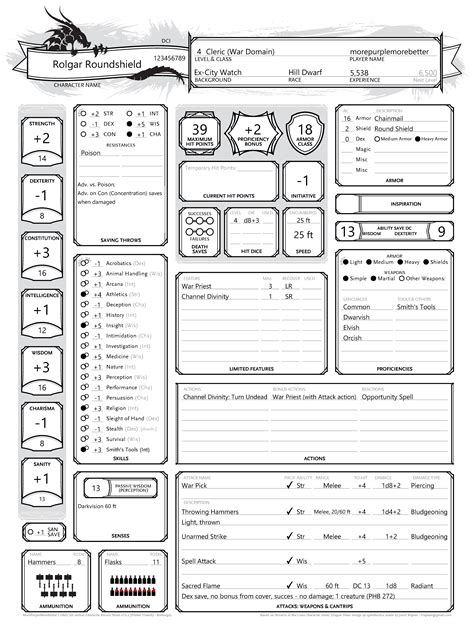 dungeons and dragons character sheet printable best