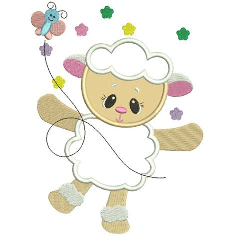 Cute Applique Pattern | cute baby lamb with butterfly easter applique machine