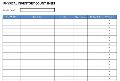 stock count template physical inventory count sheet template free excel