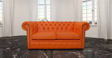buy orange leather chesterfield sofa  designersofasu