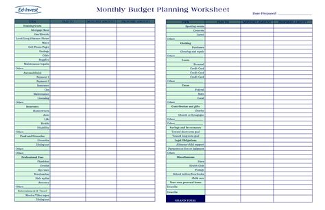budgeting plan template 20 free printable monthly budget planners baby