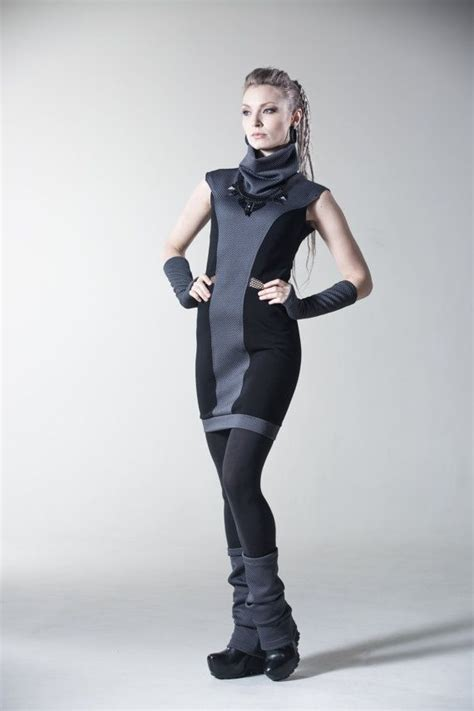 bodycon dress sci fi clothing futuristic  black