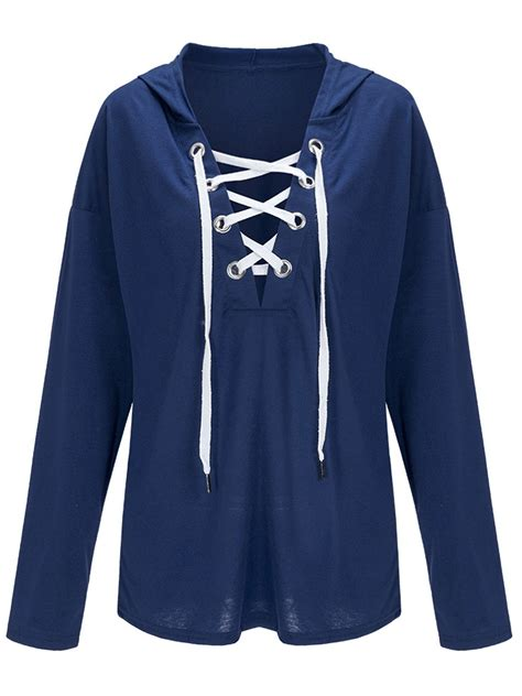 Sleeve Lace Up Sweatshirt casual sleeve v neck lace up hoodies