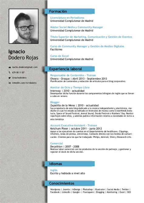 Plantilla De Curriculum Vitae Moderno Para Rellenar Ignacio Dodero Rojas Cv