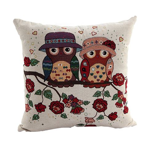 comfortable throw pillows vintage comfortable soft linen owl pillowcase square