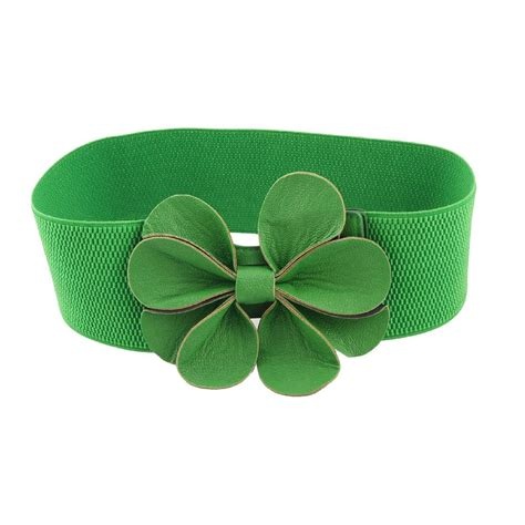 St Green Flowerbelt green faux leather flower 7 5cm wide elastic cinch belt for t1 ebay