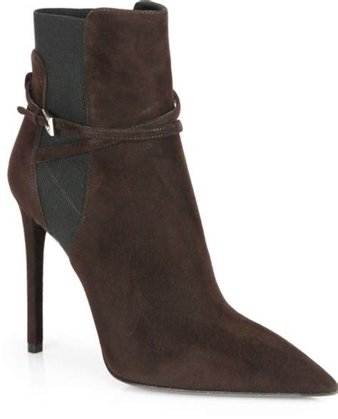 prada suede pointtoe ankle boots in black moro brown lyst