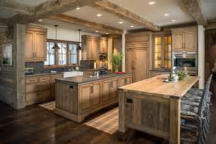 Rustic wood countertops kitchen rustic with beige wall black counter