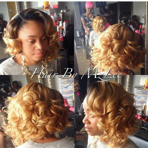 blonde bob sew in curly perfectly colored bob sharp hair do s pinterest