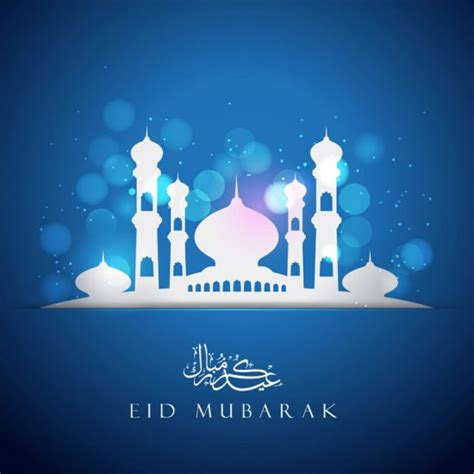 eid greeting card template vector blue greeting card template with mosque free