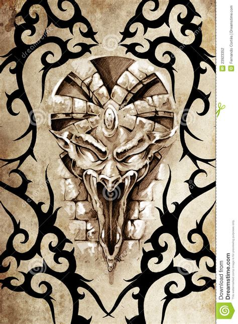 tribal gargoyle tattoo design decorated with tribal gargoyle stock