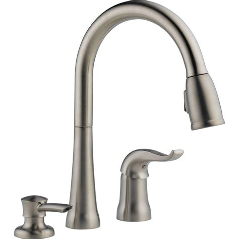 delta brushed nickel kitchen faucet delta brushed nickel pull faucet pull brushed