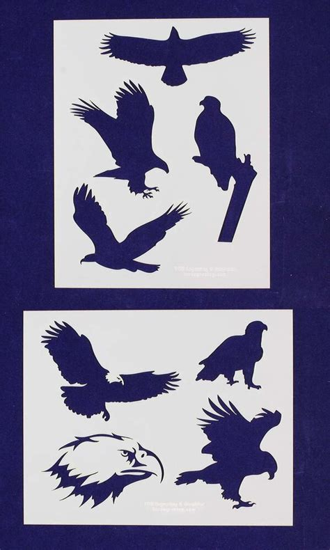 American Bald Eagle Stencils 2 Pc Set 14 Mil Mylar Painting Crafts Template Ebay Stencil Templates For Painting