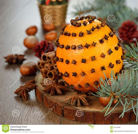orange decorated with cloves stock photo image 33140680