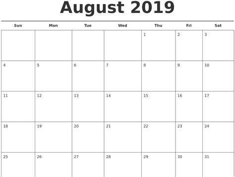 august calendar monthly weekly