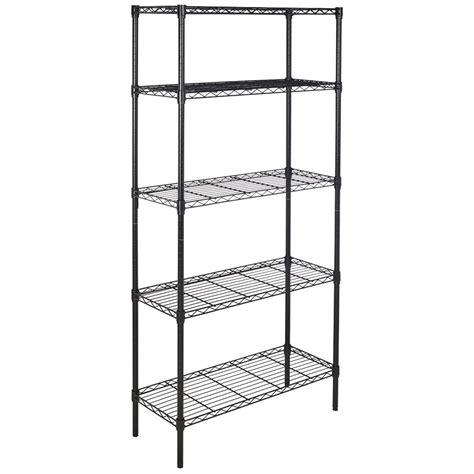 5 Shelf Wire Rack by Chrome Black 5 Shelf Steel Wire Tier Layer Shelving