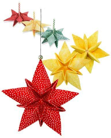 fabric origami star ornaments craft paper pinterest