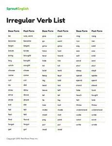 irregular verb list