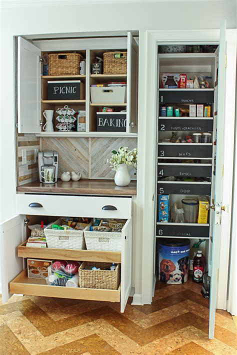 Pantry Reveal with Coffee Bar and Hidden Wine Storage