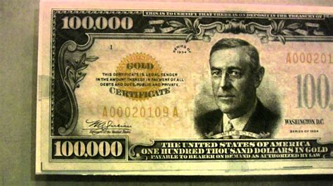 Real $100,000 bill cash money with Woodrow Wilson ... $100000 Bill